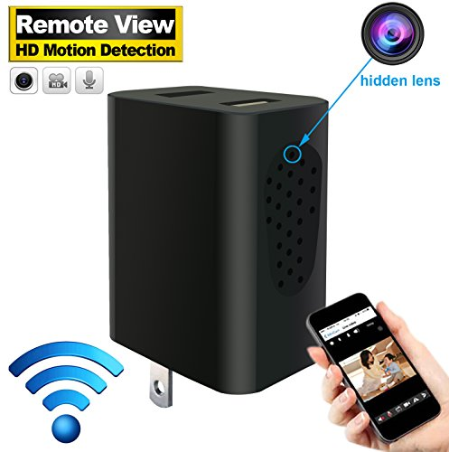 Recorders Cameras Hidden (Hidden Camera Wireless - HD Spy Camera Portable - Motion Detection - Video Recorder - Hidden Camera USB Charger for Home Security Pet Baby Nanny Monitor by Android Iphone Phone)
