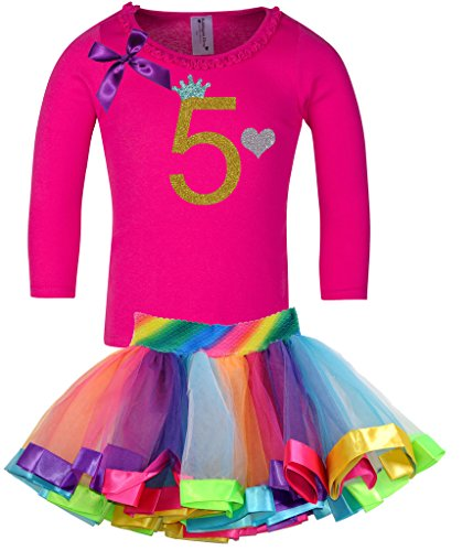 Bubblegum Divas Little Girls' 5th Birthday Rainbow Tutu Outfit Long Sleeve 5-6