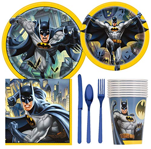 Batman Birthday Party Supplies Pack Including Cake & Lunch Plates, Cutlery, Cups & Napkins for 8 -
