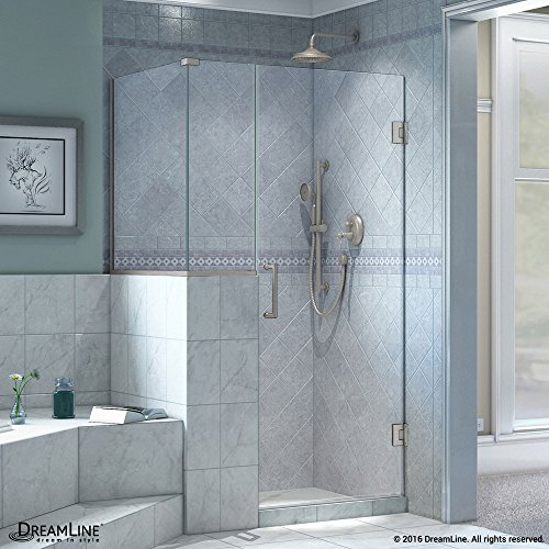 DreamLine Unidoor Plus 35 in. W x 30 3/8 in. D x 72 in. H Frameless Hinged Shower Enclosure, Clear Glass, Brushed Nickel, SHEN-2423123630-04