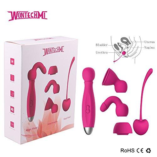 Wontechmi Wand Massager, 3 Tips, 9 Modes Vibration, Electric Massager And A Kegel Ball Exercise -3666