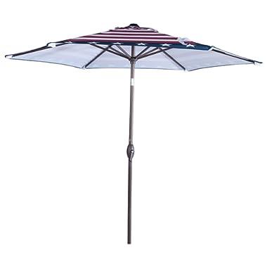 Abba Patio Striped Patio Umbrella 9-Feet Outdoor Market Table Umbrella with Push Button Tilt and Crank, Striped Flag