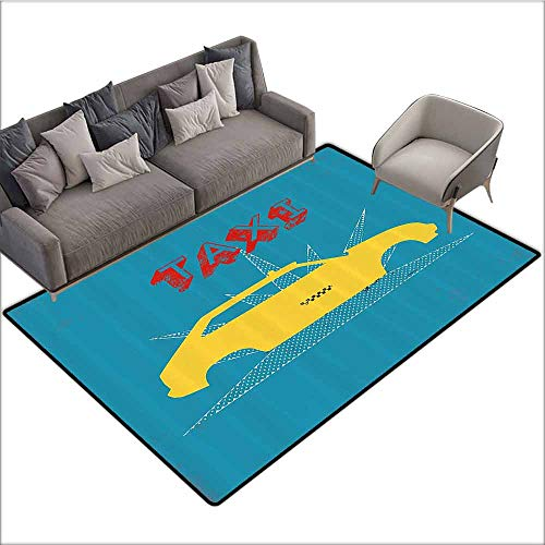 Floor Mat Kitchen Long Carpet Retro,an Old Cab Car with Grunge Taxi Typography Automobile 90s Graphic Design,Petrol Blue Yellow 48