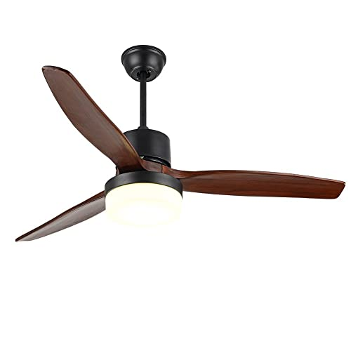 RainierLight Modern Ceiling Fan Led 3 Color Light Warm,Yellow,Netural 3 Wood Blades 1 Light Kit Remote Control 3 Speed Low,Medium,High Reversible Motor 48Inch for Indoor