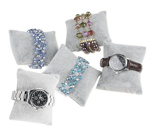 JUMUU 6Pc Velvet Pillow Bracelet, Watch, Bangle Jewelry Display Stand Set (Gray)