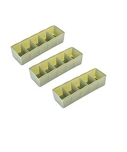 SYGA Green 5 Grid Multi Function Desktop Storage Box Deep Desk Drawer Organizer Tray(Set of Three)