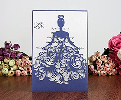 PONATIA 25PCS Lacer Cut Wedding Invitations Card Hollow Bride Invitations Cards for Wedding Bridal Invitation Engagement Invitations Cards
