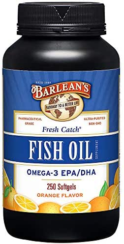 Barlean's Fresh Catch Fish Oil, Omega-3, 1000mg EPA/DHA, Orange Flavor, 250 softgels