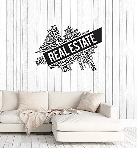 (Vinyl Wall Decal Real Estate Broker Words Cloud Interior Art Stickers Mural Large Decor (ig5733) black)