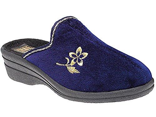 Hélène 3 Velours Compensée Confort Taille Chaussons À Femmes 8 Mules Enfiler Marine House Semelle Chaude Chaussure Bleu gRdwxT