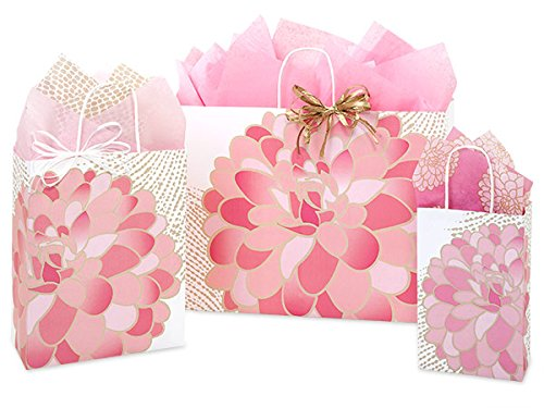 Gift Bags, Assorted Sizes, Bundled with Coordinating Tissue Paper and Raffia Ribbon (Gilded - Wrap Bloom