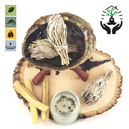 (Home Cleansing and Blessing Kit - Smudging Chakra Balancing, White Sage, Palo Santo Sticks, Abalone Shell, Candle, Healing Incense, Good Luck, Purifying, Protection, Spiritual Cleansing, Meditation)