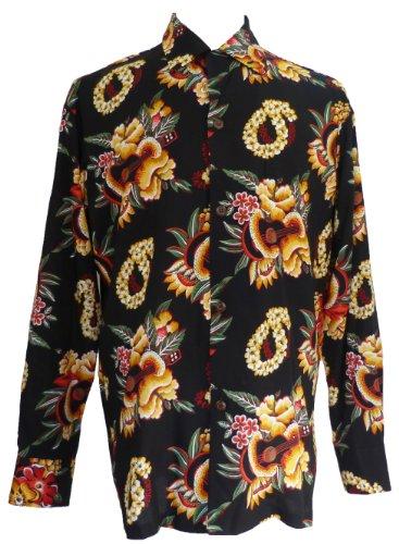 Pineapple Juice Mens Ukulele Lei Long Sleeve Vintage Shirt Black 2X (Ukulele Lei)