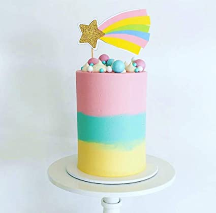 Cool Amazon Com Laventy Rainbow Cake Topper Rainbow Birthday Cake Funny Birthday Cards Online Elaedamsfinfo