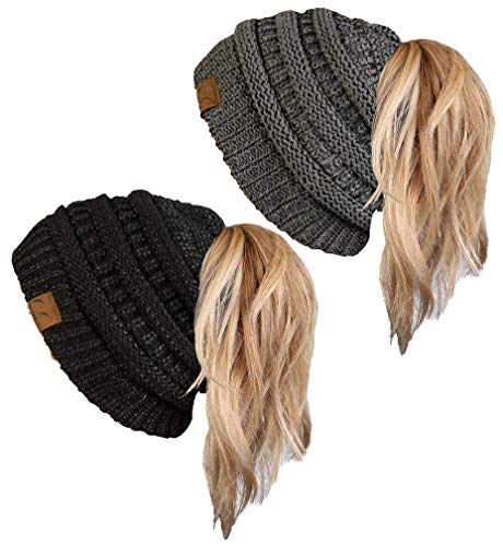 BT-6020a-2-900621 Beanie Tail Bundle - Metallic Black & Metallic Grey (2 Pack)