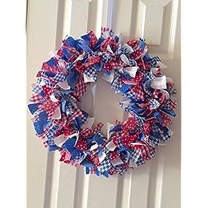 Red White & Blue rag tie wreath 111