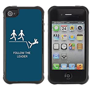 Hybrid Anti-Shock Defend Case for Apple iPhone 4 4S / Follow The Leader