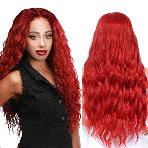 TIANTAI Long Wavy Red Wig for Women Heat Resistant Synthetic Middle Part Wig Cosplay Party Wig 26 Inch