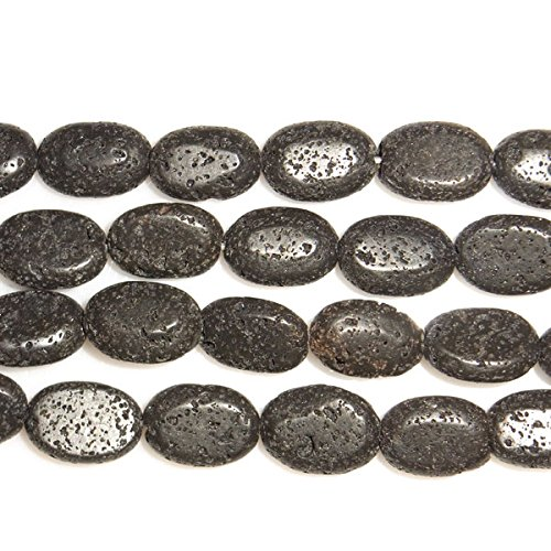 TheTasteJewelry 10x14mm Oval Natural Black Lava Beads 15 inches 38cm Jewelry Making Necklace Healing