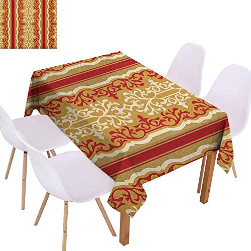(Marilec Fabric Dust-Proof Table Cover Arabesque Middle Eastern Swirl Floral Ornament Branches Motif Oriental Artwork Table Decoration W40 xL60 Ruby Pale Coffee Cream)