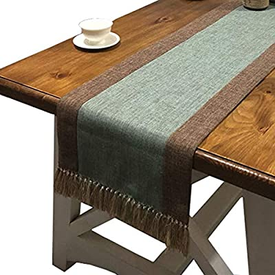 PHNAM Table Runner with Tassels Linen Cotton Long Green and Brown Coffee Dining Table Cloth Runners Non Slip for Home Kitchen Party Wedding Decorations, Machine Washable - Made of cotton linen, soft and comfortable, it will not scratch the table top and protect the top from scratching, scalding, staining, etc 15*72 inches & 15*87 inches (includes tassels) fits any shape table, include round, square or rectangular tables. There are some tassels on the edge of runner and so allow runner to hang better. If you need matching placemats, you can search ASIN B07Z4T8117. A good home and kitchen decoration, perfect to use as dining table runner, dresser scarf, coffee table runner, bed runner, etc. If you need other color table runner, you can search phnam table runner. - table-runners, kitchen-dining-room-table-linens, kitchen-dining-room - 51cnEdZf5QL. SS400  -