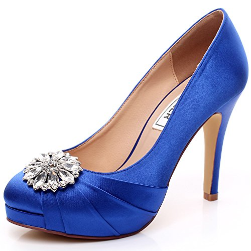 Royal blue bridal shoes amazon luxveer high heel women shoes satin wedding shoes with rhinestone bridal shoes dress sheos royal blue bridal shoes heels 45 inch rs 9805 eu38 wedding junglespirit Images