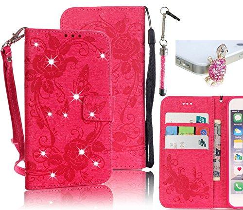 Samsung Galaxy S7 Edge SM-G935F PU leather Case,Vandot 3in1 Set Elegant Flip Folio Stand Magnetic Closure [Flower Butterfly] Wallet Case With Card Slots Diamond Shiny Sparkling Perfect Fit Cover+Wrist Strap +turtle Anti Dust Plug+Stylus Pen-Rose Red