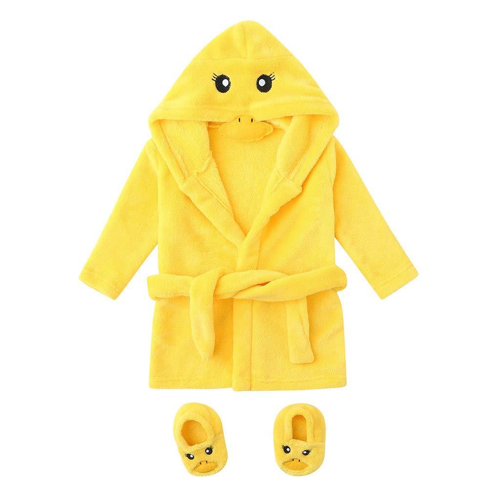 Bitriddis Infant Baby Boys Girls Cartoon Flannel Bathrobes 0-12M Hoodie Sleepwear+Footwear Outfits Newborn Bathing Suit