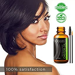 Organic Castor Oil - 100% USDA Certified Pure Cold Pressed Hexane free - Boost Growth For Eyelashes, Hair, Eyebrows. Fortify Nails, Skin, and Face with Treatment Applicator Kit, 1oz (30ml)