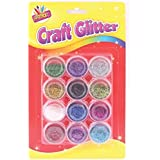 12 Glitter Pots Assorted Metallic Colours