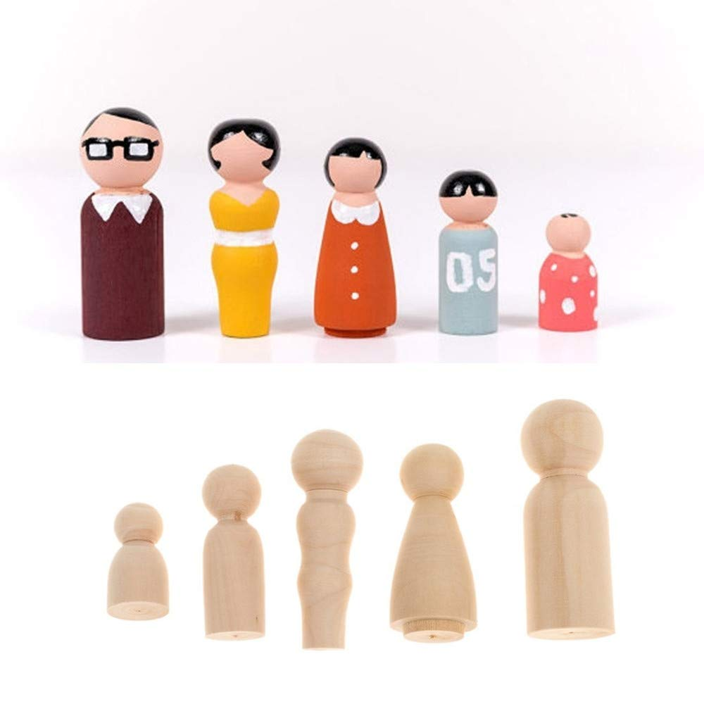 MCYs Wooden peg Doll Unfinished People Plain Blank Bodies Angel Dolls Family Five Ornaments Crafts Cake Topper Kid's Printed Decoration for DIY Craft Pack of 5 MCYs_01