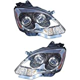 Headlight Assembly Compatible with 2007-2008 GMC Acadia Halogen 1st Design Passenger and Driver Side