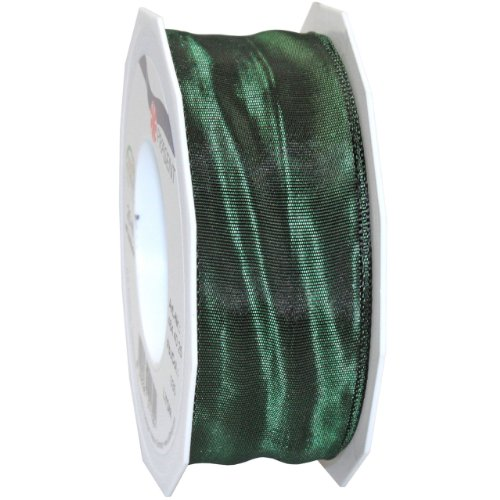 Morex Ribbon French Wired Lyon Fabric Ribbon, 1-1/2-Inch by 27-Yard, Hunter