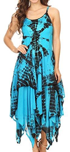 Sakkas 902 Annabella Corset Bodice Handkerchief Hem Dress - Black/Turquoise - One Size -