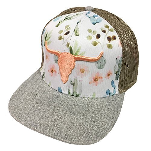 Farm Boy Brand Floral With Orange Longhorn Charcoal Adjustable Hat - F23080745CH by Farm Boy