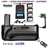Kastar Infrared Remote Control Pro Vertical Battery Grip (Built-In 2.4G Wireless Control) + 4 x NP-FW50 Replacement Batteries + Ultra Fast Charger Kit for Sony ILCE-A6300 / A6300 Digital SLR Camera