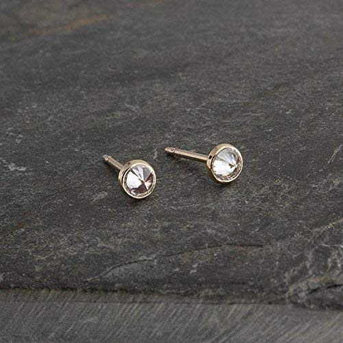 Gold Stud Earrings, Cubic Zirconia Stone Gold Studs, Dainty Earrings, Minimalist Stud Earrings, Gold Studs, Handmade Earrings, Tiny Earrings 3mm