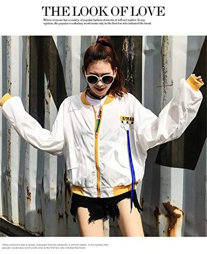 Autunno Rotondo Collo Primaverile Di Lunga Donna Da Gelb Giacca Eleganti Grazioso Moda Digitale Outerwear Casual Manica Sciolto Stampato Aviatore Stlie Bomber Cappotto xpqUyIAg