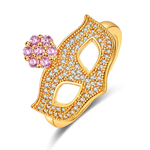 Emsione Yellow Gold Plated Created Pink Topaz Fox mask with Flower Eternity Ring Band Anniversary Wedding Engagement Ring