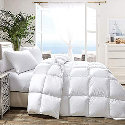 HOMBYS Luxurious Goose Down Comforter King 106x90 Duvet Insert All Season Hypo-allergenic 100% Cotton Cover Down Proof with 8 Corner Tabs Feather Down Comforter 65oz Fill Weight (King,White)