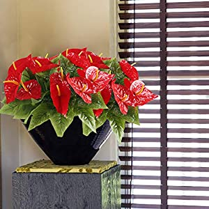 HO2NLE 4PCS Fake Anthurium Artificial Flowers Bouquet Real Touch PU Faux Floral Shrubs Bundle Indoor Outdoor Home Garden Parties Wedding Simulation Decor Red 2