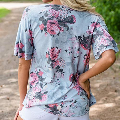 Jaysis Manches Femme Ont V Chemise Sexy BohMe Le Col Bleu Imprim T Bandage Shirt T Loose Courtes xxw6nH