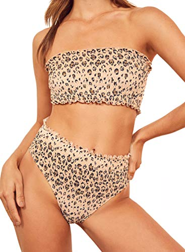 Dokotoo Womens Leopard Printed Smocked Straps Padded Ladies Fashion Bikini Sets High Waist Two Pieces Swimsuit Swimwear Bathing Suit with Briefs Bottom Large