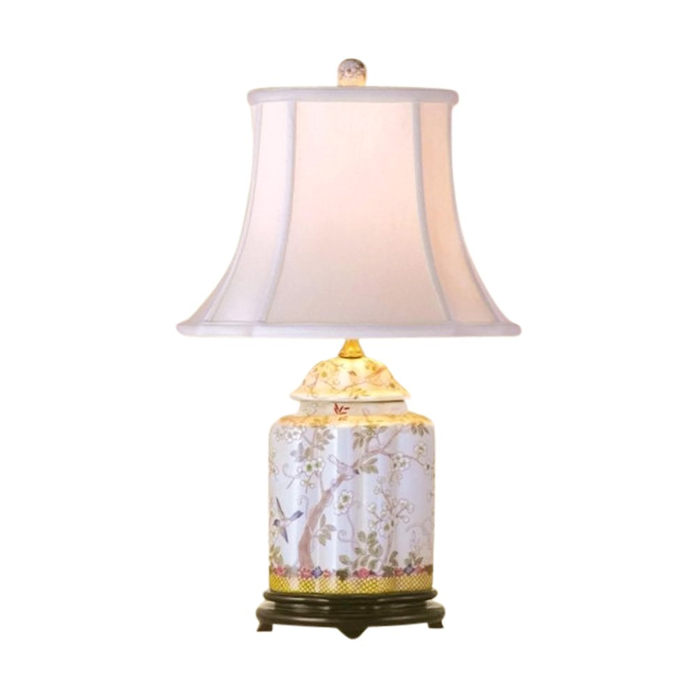 Chinese Porcelain Scallop Ginger Jar Table Lamp Bird Floral Motif 22'' by Asian Style Furnishing