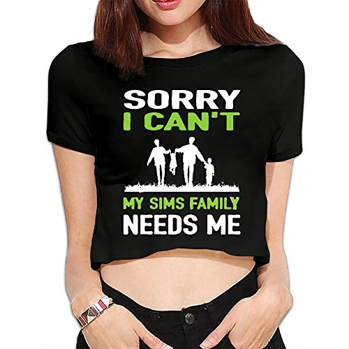 PolkBro Sorry I Can't My Sims Family Needs Me Sexy Womens Cropped Tops Tees Short T-shirt Blouse - Sims Apparel