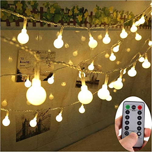 Yesee 33FT 80 LED String Lights Battery Operated with Remote, Indoor Outdoor String Lights Fairy Decor for Patio Party Bedroom Wedding Christmas. (IP65, Warm White) -