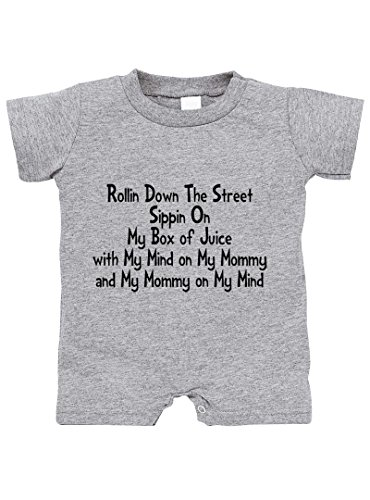 Speedy Pros Rolling Down Street Mommy On My Mind Cotton Infant Baby Jersey Tee T-Romper Oxford Gray 6 - On My Not High Street