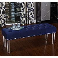 Simple Living Leona Bench with Acrylic Legs Navy Blue