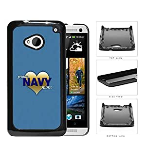 Proud Navy Mom with Gold Heart and Teal Blue Background HTC one M7 Hard Snap on Plastic Cell Phone Case Cover