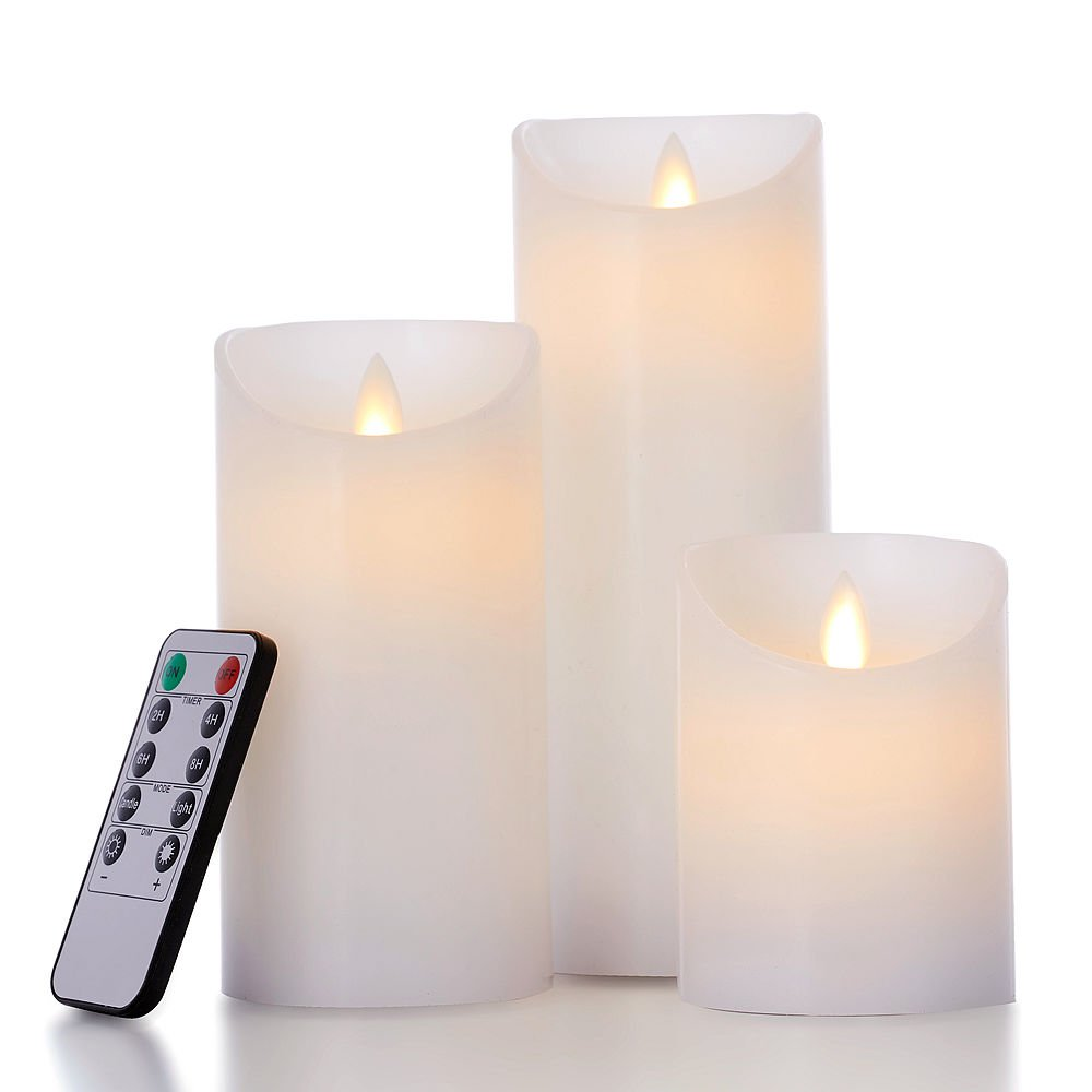 glowiu Flameless Flickering LED Candles Moving Flame, Battery Candles Set of 3(H 4'' 6'' 8'' x D3) Real Wax Pillar with 10-Key Remote Multi-Function (White)